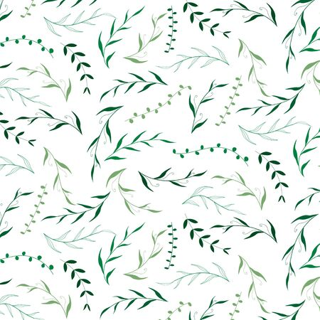 Hand drawn Green leave pattern design on white background