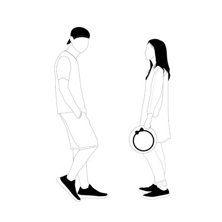 Young man and woman, simplified style  isolated on white background,  vector illustration
