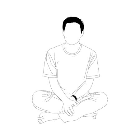 Simplified style, Young man sitting on white background,  vector illustration