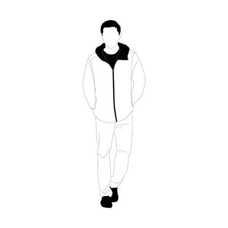 Simplified style , Young man standing on white background,  vector illustration