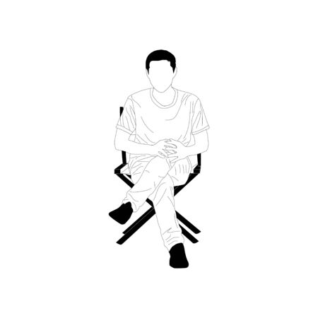 Simplified style , Young man sitting on a chair ,  vector illustration