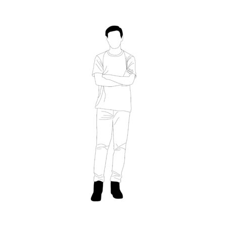 Simplified style , Young man standing on white background  , vector illustration Ilustrace