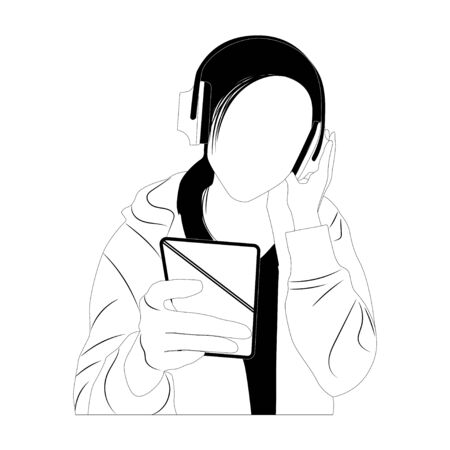 Simplified style , Woman listening to music ,vector illustration