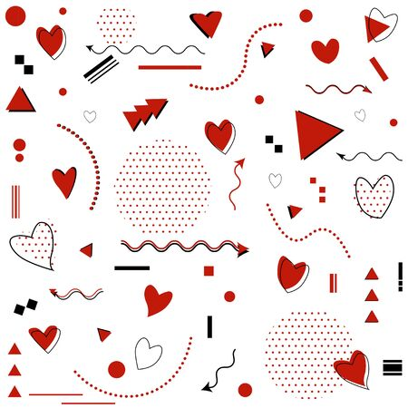 Memphis pattern for Happy Valentine's Day celebration with symbols in retro 80s, 90s memphis style. Vector illustration Ilustrace