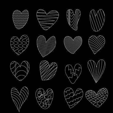 Collection of hand drawn doodle hearts on black background. Vector illustration  Ilustrace