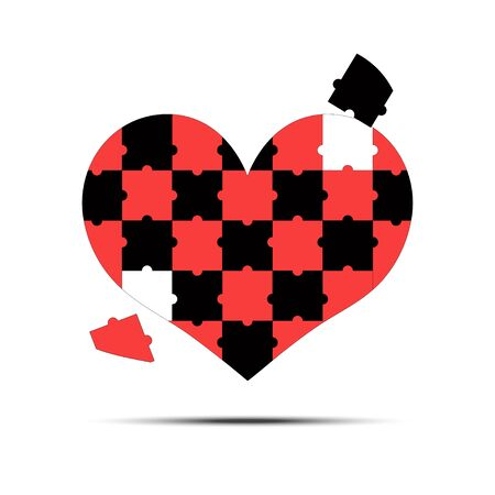 Jigsaw puzzle pieces in form of red heart, isolated on white background. Happy Valentines Day template. Vector illustration Ilustrace