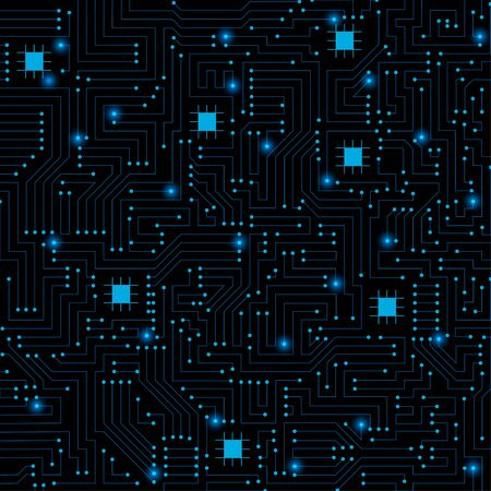 Circuit board pattern isolated on black  background. technology concept , Vector illustration