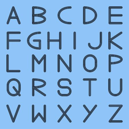 Multi line capital letters of the English alphabet, vector illustration