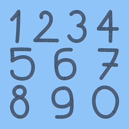 Hand drawn numbers made of lines  From one to zero , Vector Illustration