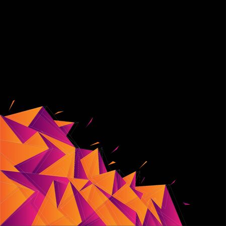 Abstract background with Crystal Shape isolated on black background, vector illustration