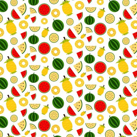 Cute fruit pattern isolated on white background for summer background, Vector illustration