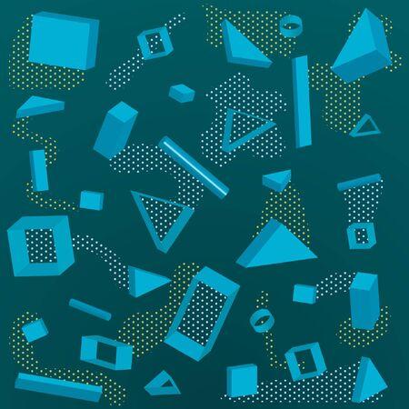 Memphis pattern  3D shapes background , Vector illustration