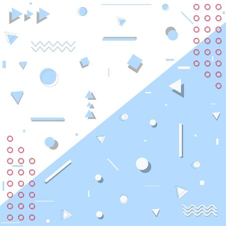 Memphis pattern geometric shapes on blue and white background , Vector illustration Ilustrace