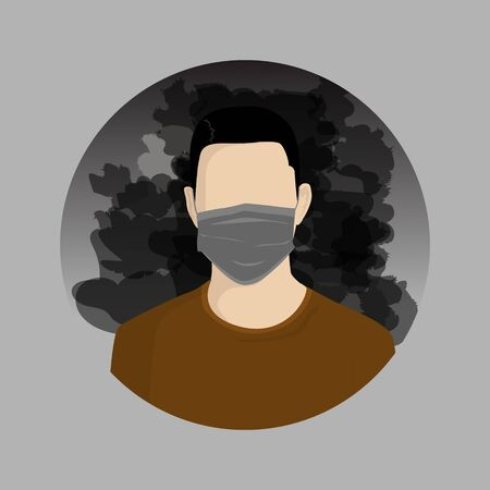 Man wearing masks on their faces because of smoke pollution, people protecting health from city pollution,  vector illustration Ilustrace