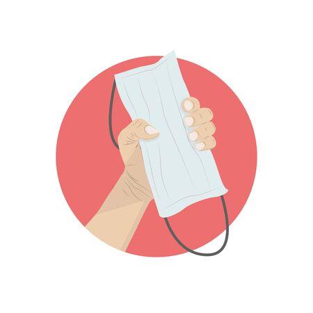 Hand holding masks  on red background ,  vector illustration