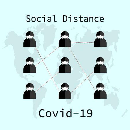 Coronavirus epidemic, social distance concept. Covid-19 protection prevention information, vector illustration