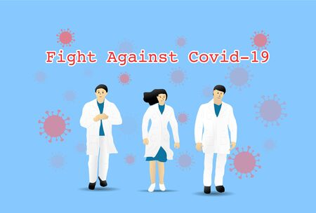 Doctor and Nurse Team Fight Against Covid-19, Coronavirus Disease, Health Care and Safety, Vector illustration