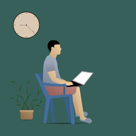 Man with laptop on chair. Work from home concept. vector illustration