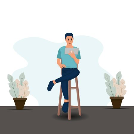Man with Tablet sitting on chair. Work from home concept. vector illustration  Ilustrace