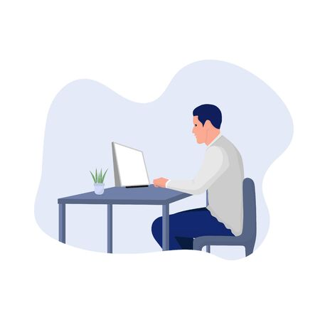Man with Computer sitting on chair. Work from home concept. vector illustration  Illustration