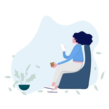 Woman with smarth phone sitting on chair. Work from home concept. vector illustration Ilustrace