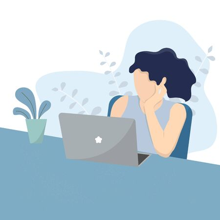 Woman with Computer sitting on chair. Work from home concept. vector illustration