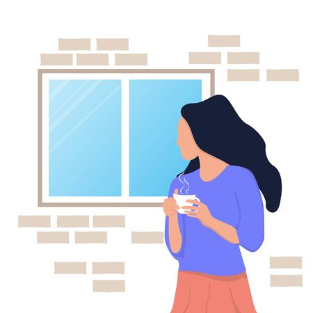 Woman look out of windows. Self-isolation during an epidemic. Stay home concept. vector illustration