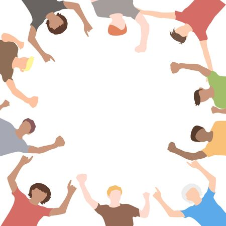 A crowd of happy people on white background . vector illustration