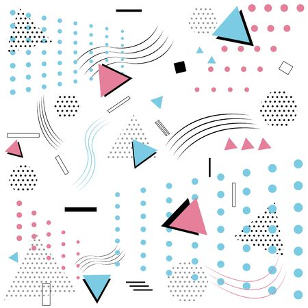 Memphis pattern styles isolated on white background. vector illustration