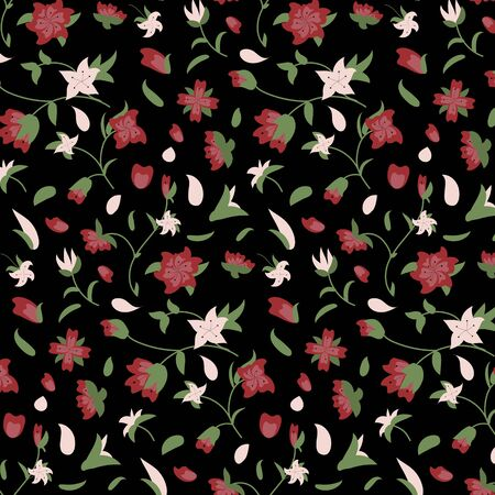 Floral Pattern. Hand Drawn Flowers And Leaves On black Background. Vector Illustration.