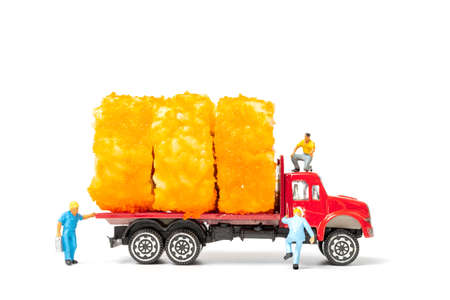 Miniature people make Sushi Rolls on truck isolated on white background , Food delivery concept Banco de Imagens
