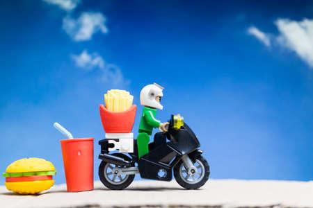 Delivery man ride motorcycle service , Food Delivery concept Banco de Imagens