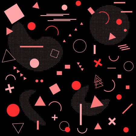 Geometric Memphis pattern styles background. vector illustration