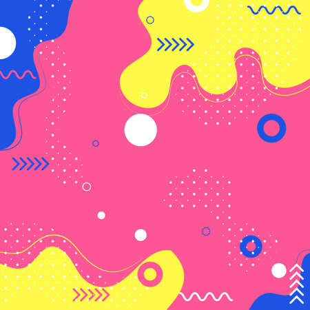 Abstract summer background , Shapes and geometric elements in memphis style background  Ilustrace