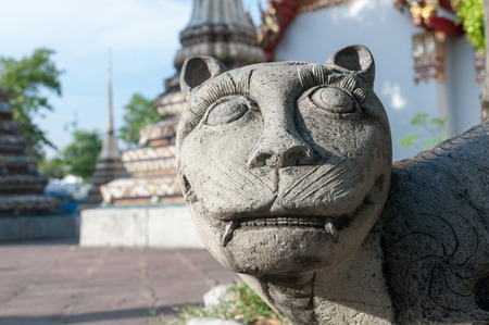 aureate: portrait of a stone Chinese tiger in Wat pho, bangkok, thailand