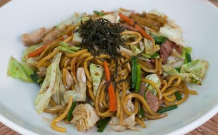 chap sticks: yakisoba noodles  Stock Photo