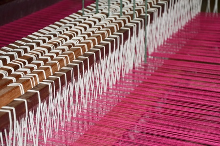 Inside of a damask weaving machine  photo