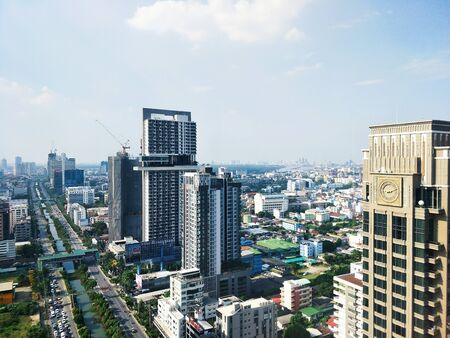 High Angle View Of Street Amidst Buildings In City, Business Architecture. 版權商用圖片