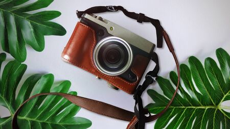 Retro Camera With Green Leaves on White Background, Camera With Green leaves Concept, Top View