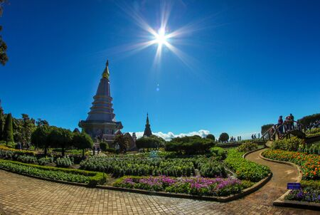 public domain: Landmark landscape pagoda in doi Inthanon national park at chiang mai Thailand, They are public domain or treasure of Buddhism Stock Photo