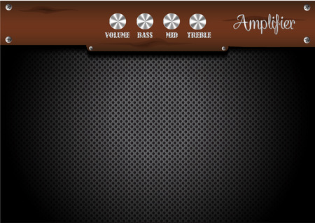 Guitar amplifier with wood panel background