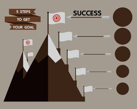 5 Steps to reach the target infographic success procedure graphic Vector