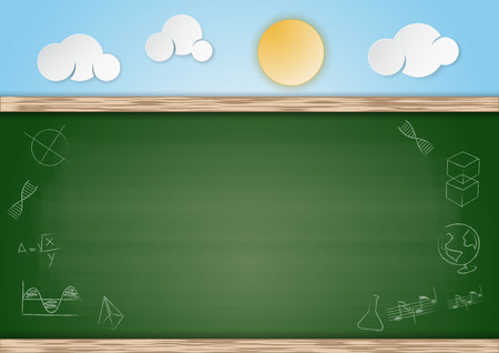Fake chalkboard with empty space and cloudy sky on background Vector