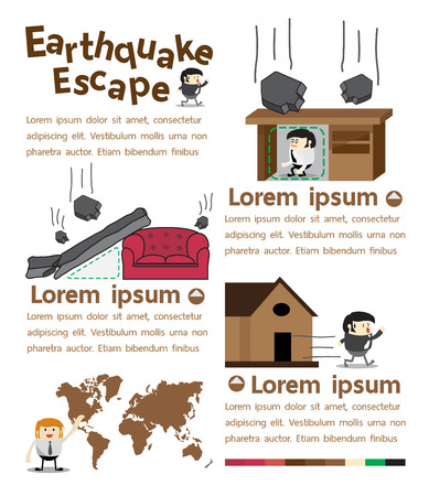 seismic: Earthquake escape infographics Vector Illustrator