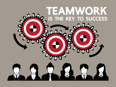 teamwork concept: Human gears teamwork concept design Vector illustration