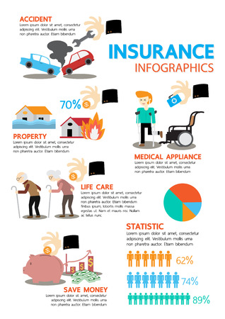 auto accident: Business insurance infographic elements. Vector illustration