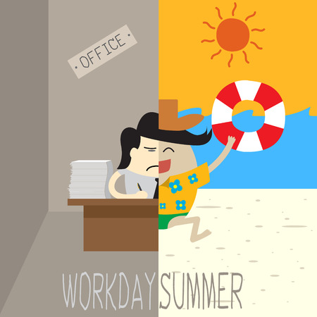 workday: Workday and vacation office man working and half running on the beach Workday VS Summer Holiday