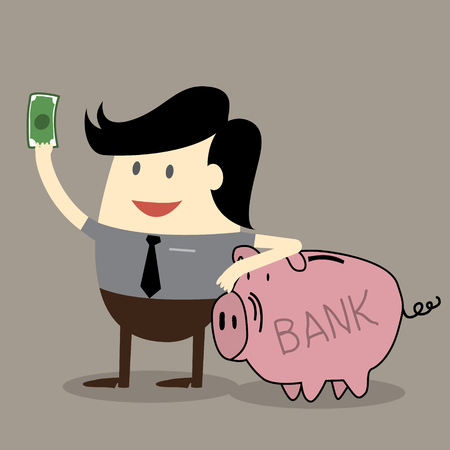 Saving money concept piggy bank Vector