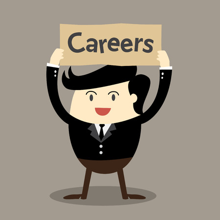 Business man holding board over head Job opportunities Careers Join our work Vector
