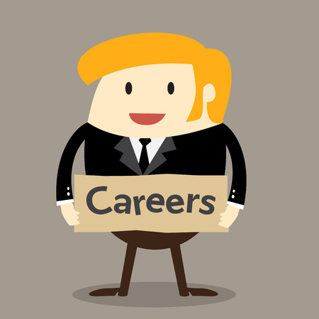 join our team: Business man holding board Job opportunities Careers Join our work
